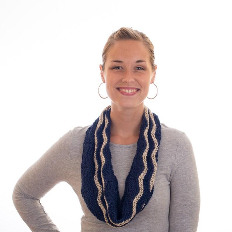 Knit Silk Scarf Navy Blue White Zig Zag Design image 0