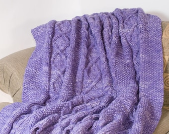 Hand Knit Celtic Afghan, Couch Throw, Blanket, Merino, Purple and White, Cable Knit