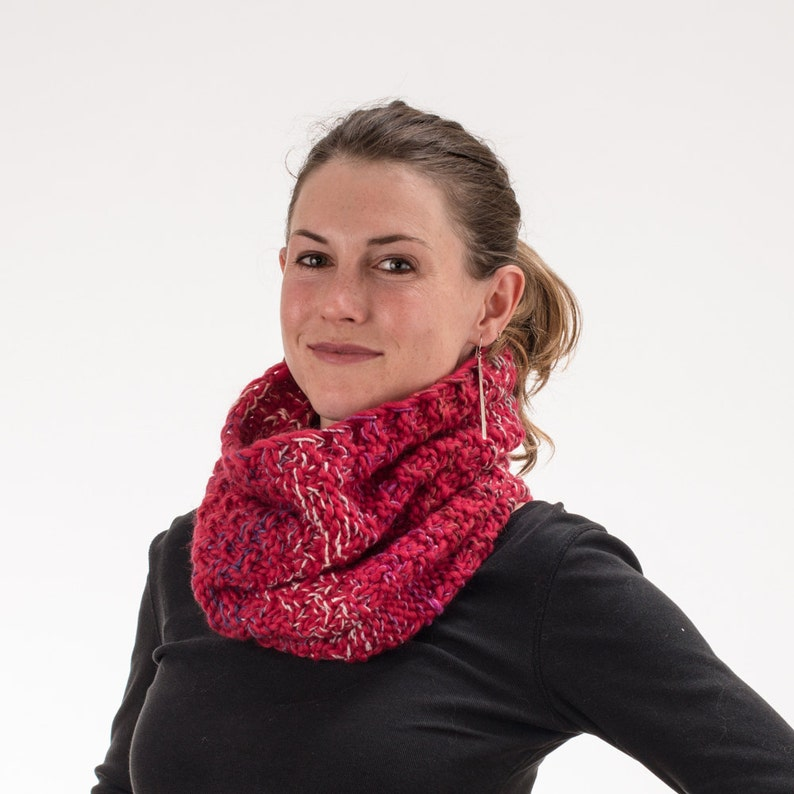 Chunky Knit Cowl Scrunchy Scarf Cherry Red with Multicolored image 0