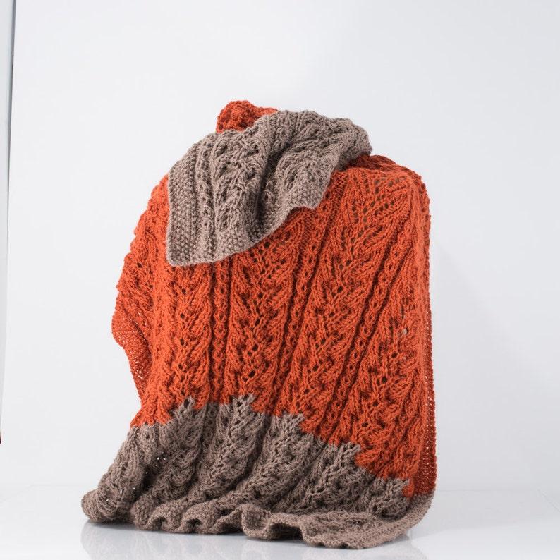 Knit Alpaca Blanket Afghan Throw Burnt Orange and Taupe image 0