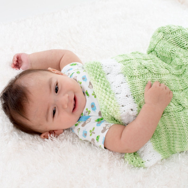 Hand Knit Baby Cocoon Unisex Baby Blanket Green and White image 0