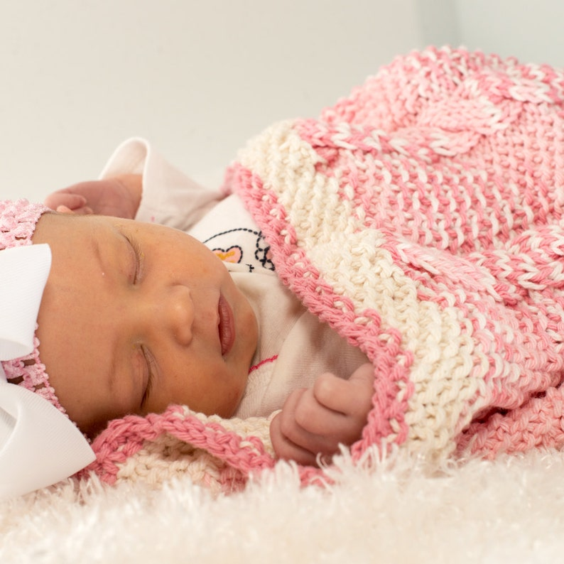 Pink and White Baby Blanket Hand Knit Baby Cocoon Cable image 0