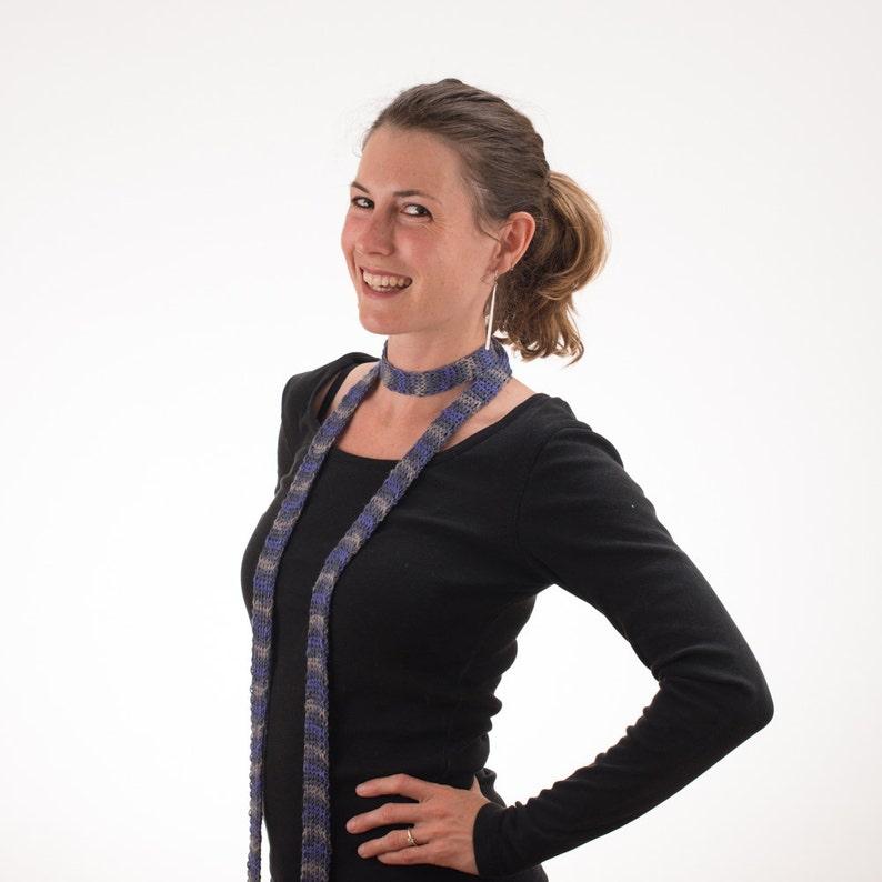 Long Striped Scarf Skinny Scarf PURPLE and GRAY Merino Wool image 0