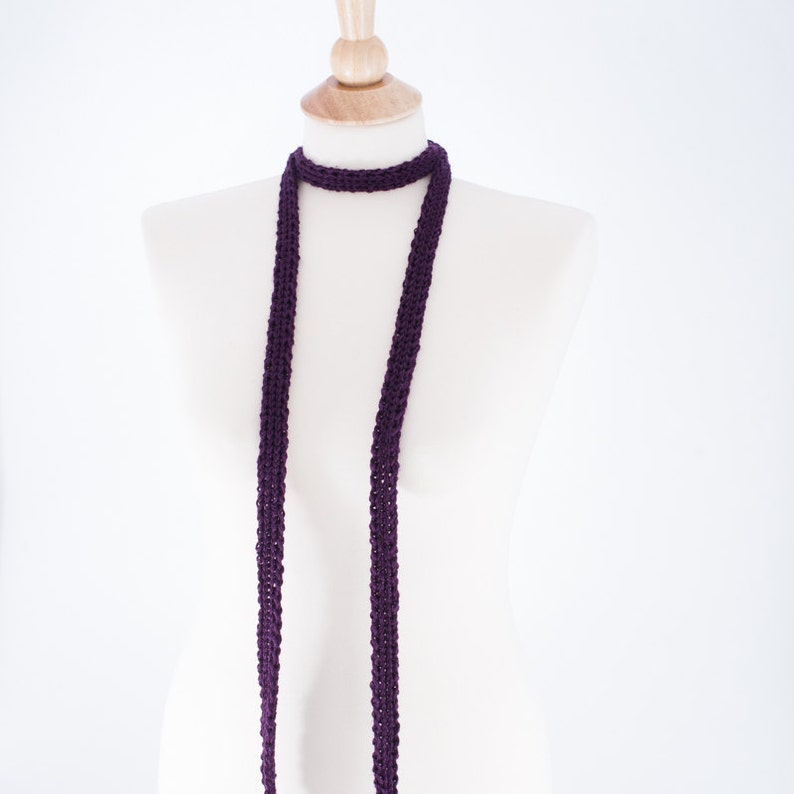 Long Skinny Scarf PLUM PURPLE Silk and Bamboo image 0