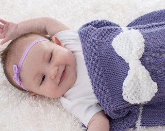 Cotton Baby Blanket, Baby Girl Cocoon, Hand Knit, Purple with White Bow, Lace Knit, 100% Cotton
