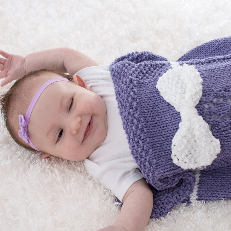 Cotton Baby Blanket Baby Girl Cocoon Hand Knit Purple with image 0