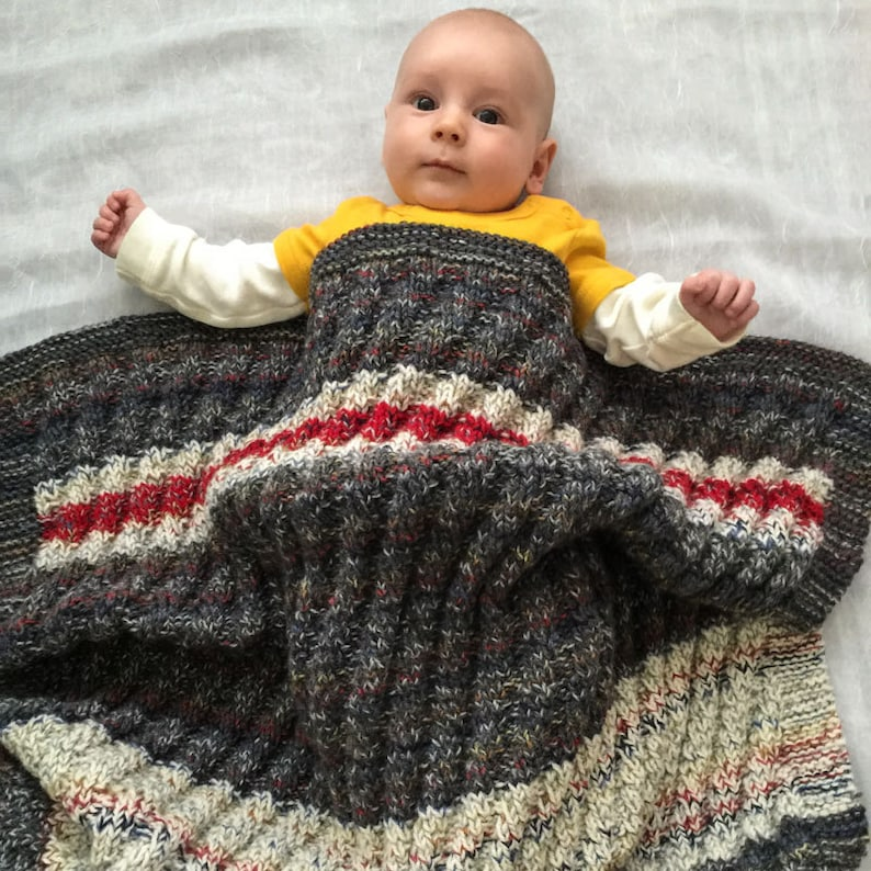 Chunky Knit Baby Blanket Modern Gray White Red Striped image 0