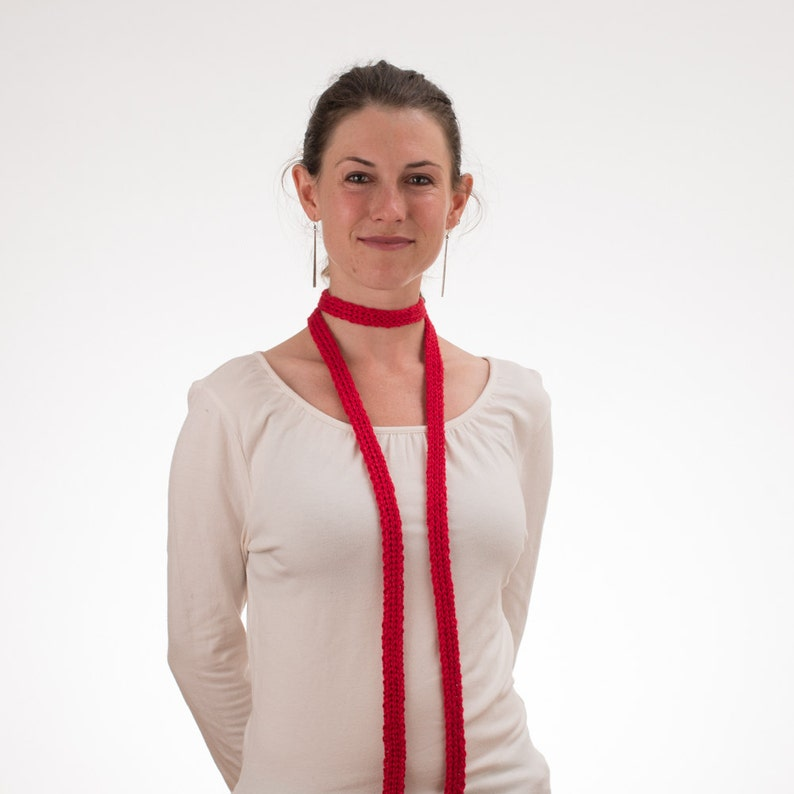 Long Thin Scarf Skinny Scarf CHERRY RED Silk and Bamboo image 0