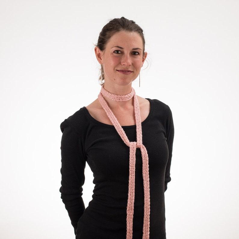 Thin Knit Scarf Long Thin Scarf Skinny Scarf BLUSH PINK image 0
