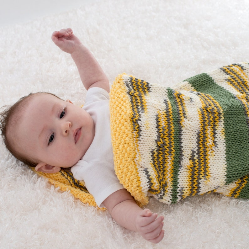 Hand Knit Baby Cocoon Cotton Baby Blanket Yellow and White image 0