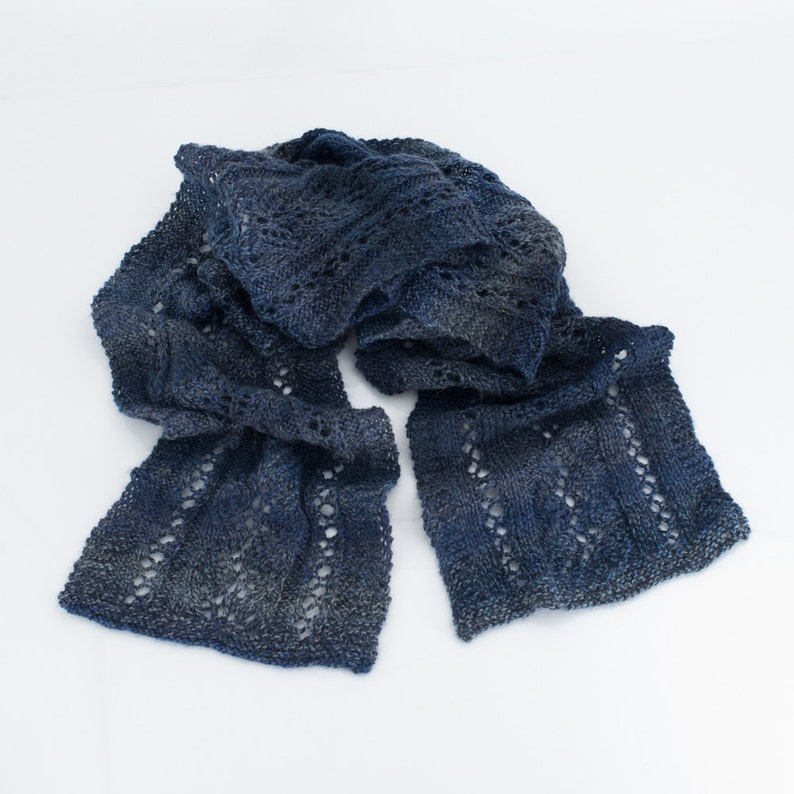 Long Lace Knit Scarf Blue and Gray Lace Washable Wool image 0