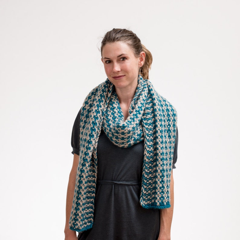 Knit Scarf and Wrap Prayer Shawl Teal and Cream Pure New image 0