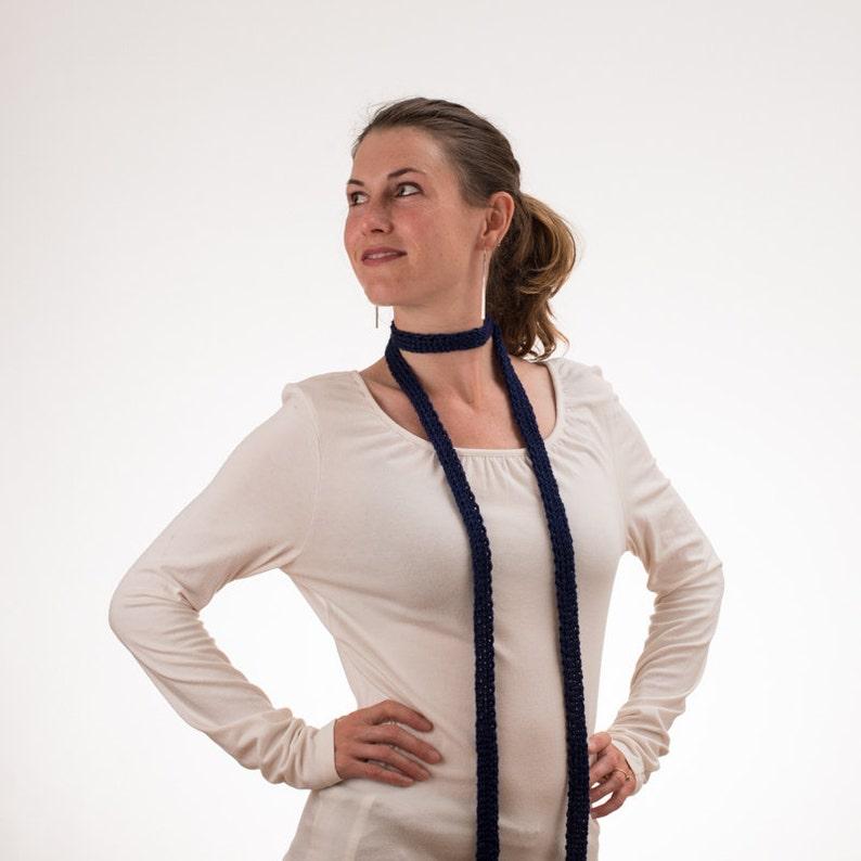Long Thin Knit Silk Scarf NAVY BLUE Silk and Bamboo Choker image 0