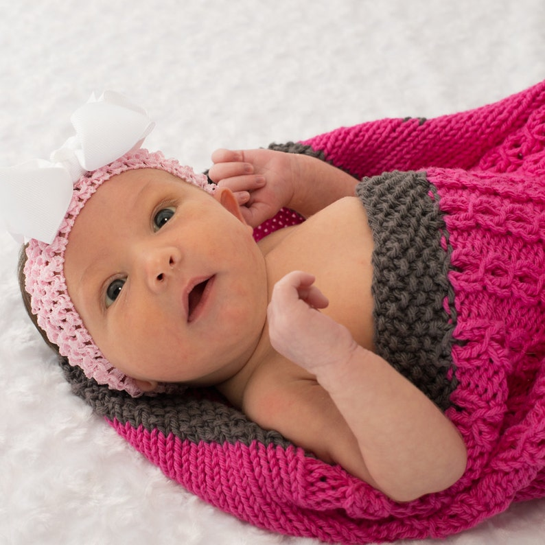 Cotton Baby Blanket Pink Baby Cocoon Hand Knit 100% Cotton image 0