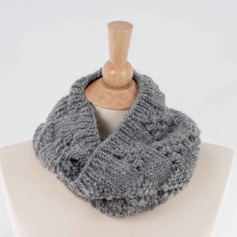 Chunky Knit Infinity Scarf Gray Lace Squares Design Pure image 0
