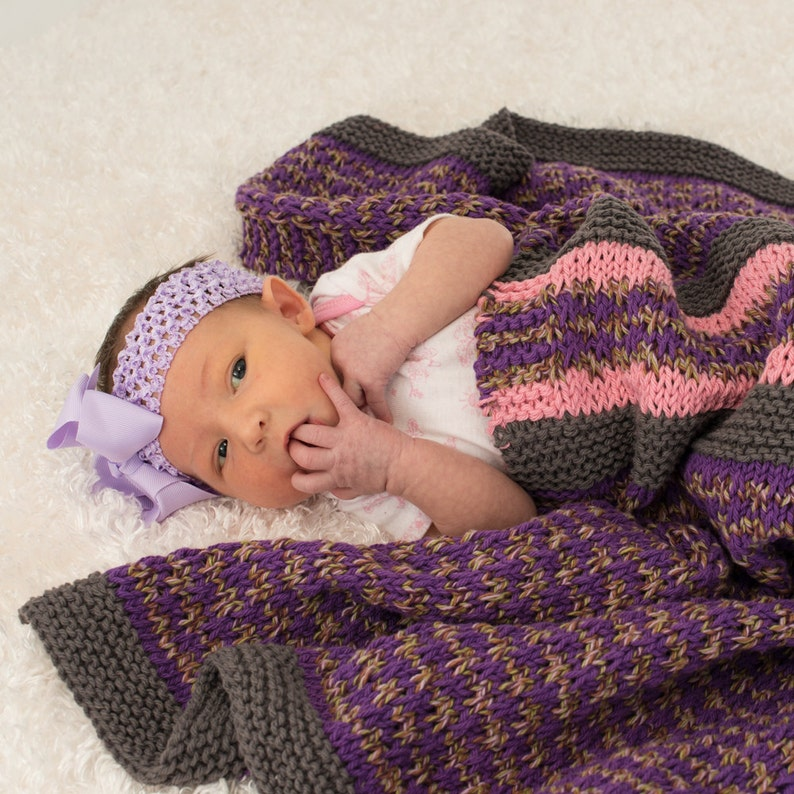 Cotton Baby Blanket Boho Baby Pink Gray and Purple image 0