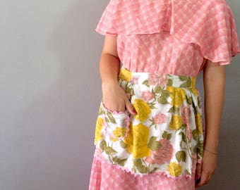 Handmade Pink and Gold Roses Apron