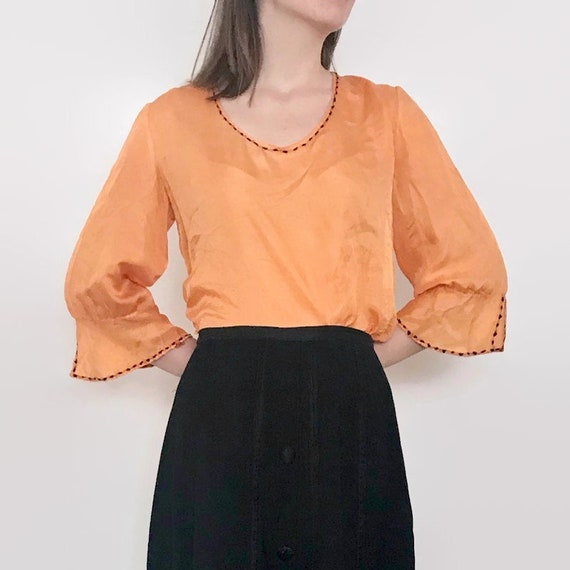 Antique Edwardian Orange Silk Blouse