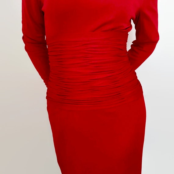 Vintage Scaasi Boutique Tomato Red Wiggle Dress w… - image 2