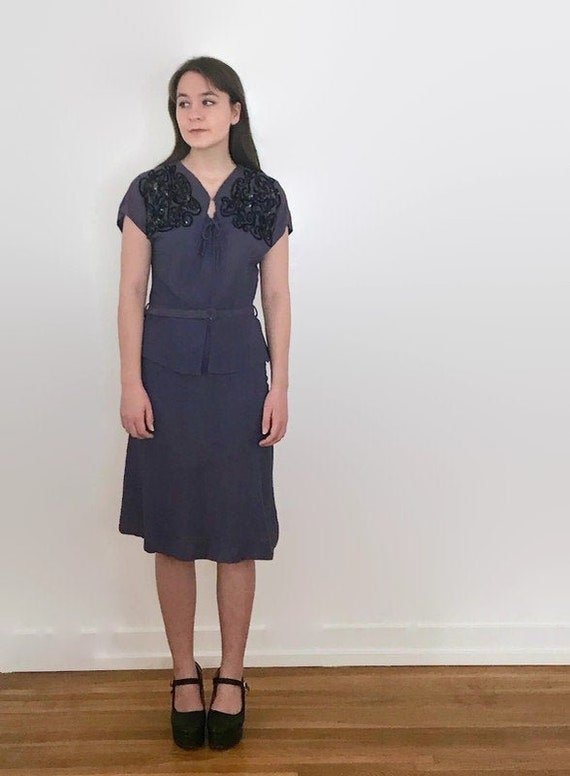 Vintage 1940s Dark Slate Blue Sequin Belted Dress