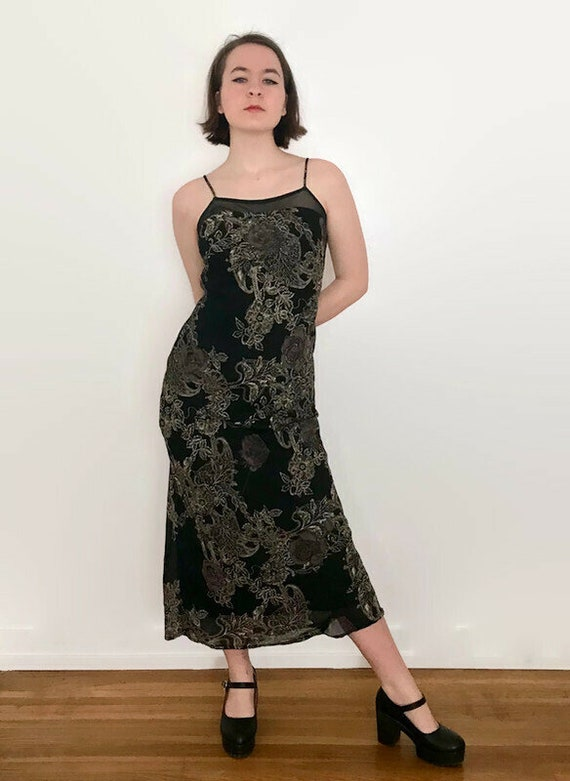 Vintage 1990s All That Jazz Black and Taupe Floral