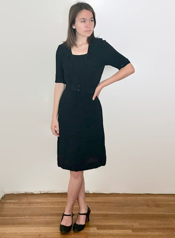 Vintage 1940s Black Sequin Belted Dress