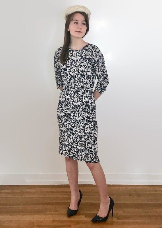 Vintage Navy and White Floral Rayon Dress