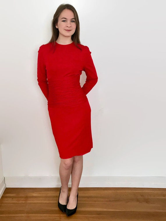Vintage Scaasi Boutique Tomato Red Wiggle Dress w… - image 1