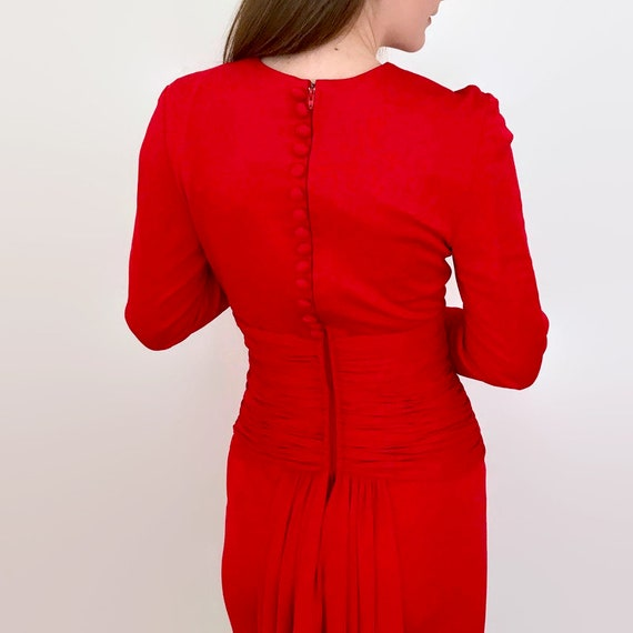 Vintage Scaasi Boutique Tomato Red Wiggle Dress w… - image 3