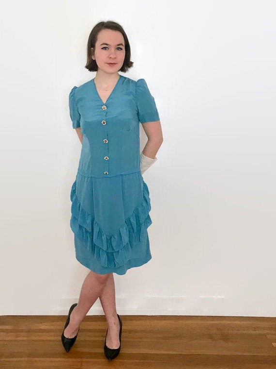 Vintage 1930s Cornflower Blue Silk Ruffle Dress