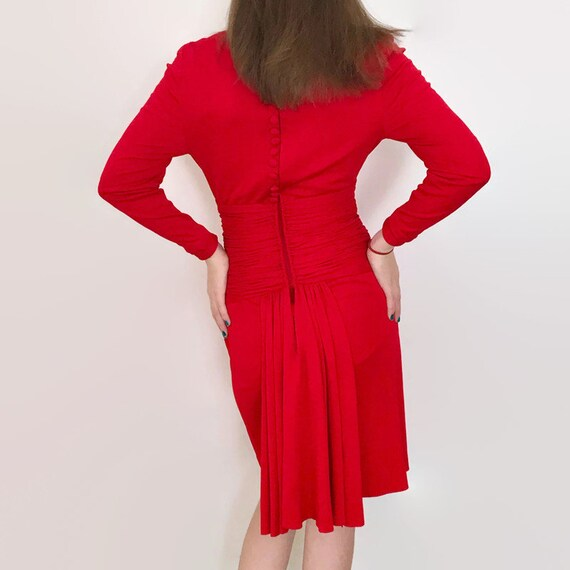 Vintage Scaasi Boutique Tomato Red Wiggle Dress w… - image 4