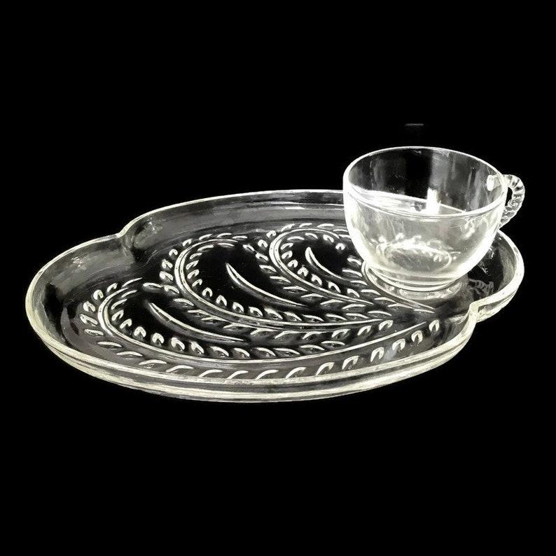 Vintage Federal Glass Company Hospitality Snack Set  Plate image 0