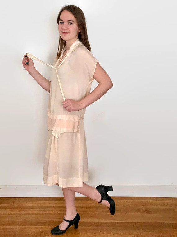 Antique 1920's Champagne Pink Silk Dress