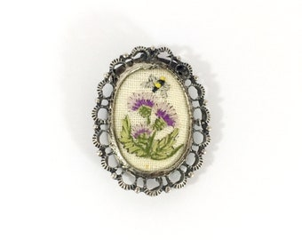 Pretty Embroidered Purple Thistle Brooch