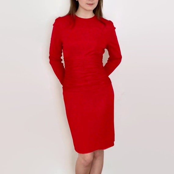 Vintage Scaasi Boutique Tomato Red Wiggle Dress w… - image 5