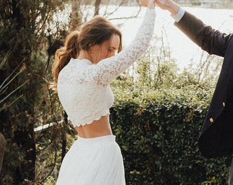 Wedding Long Sleeve Top, Bridal Long Sleeve Lace Top, White Top, Beach Weddings, Lace Top, Fitted Lace Top, Fitted Top, Ivory Lace Top,