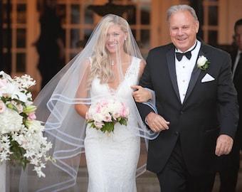 Drop Wedding Veil with Ribbon, Double Trim Horsehair Veil, 1/2 inch HorseHair Wedding Veils, Cathedral Veil, Edge Veil, Handmade in the USA