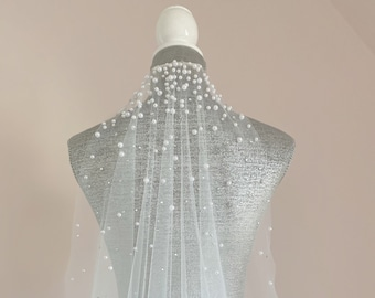 Veil with Pearls and Crystals | Soft Veil with Pearls | Veil | Cathedral Veil | Off White Veil | Ready to ship Veil