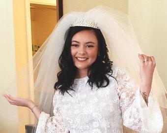 Priscilla Presley Wedding Illusion Tulle Veil | Blusher Soft Veil | 3 Tier Wedding Veil | Raw Edge Veil | Cathedral Veils | Ivory Puffy Veil