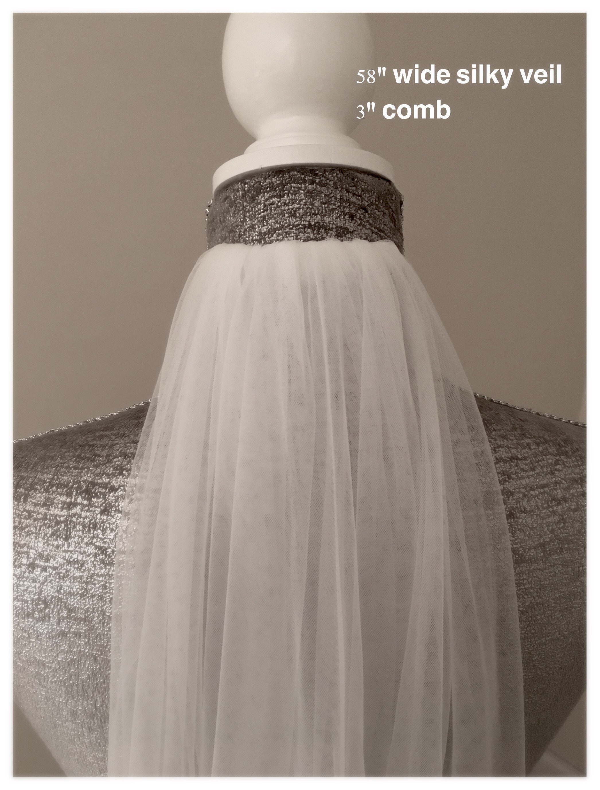 1 Tier Chapel Floor Length Veil Bridal Wedding Cut Romantic Edge Ivory//White UK