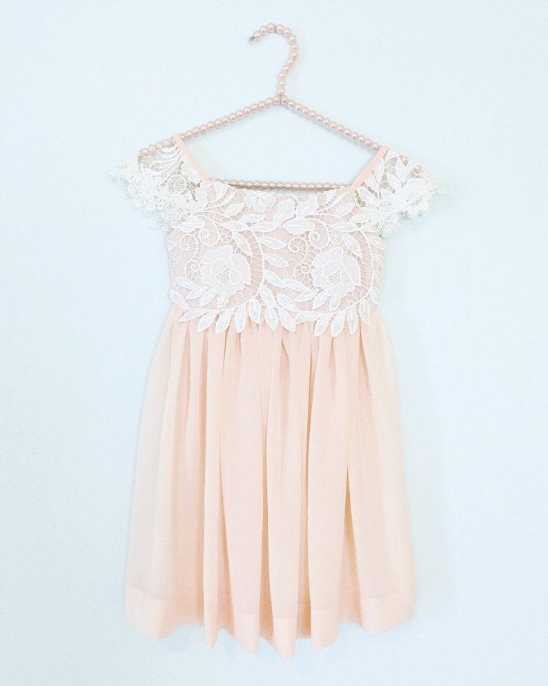 7fecc552720 Blush Lace Flower Girl Dresses Lace Top Flower Girl Dress