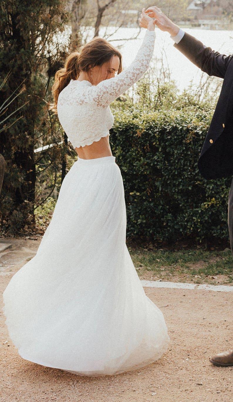 Custom Wedding Top  Crop Wedding Top  Long Sleeve Bridal Top image 1