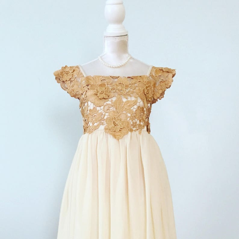 41122b23f2a Gold Lace Flower Girl Dresses Lace Top Flower Girl Dress