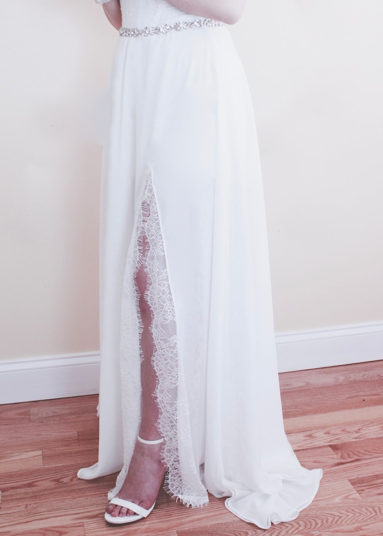 252c2472be03b Chiffon Skirt with Lace Split, Off White Wedding Skirt, Wedding Skirts,  Custom Skirts, Maxi Skirt #weddingskirts #skirt #laceskirts