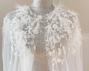 Veil Cape with Feather | Feather Cathedral Veil Cape | Bridal Cape | Silky Sheer Veil Cape | Shoulder Veil | Wedding Cape | Tulle Cape |