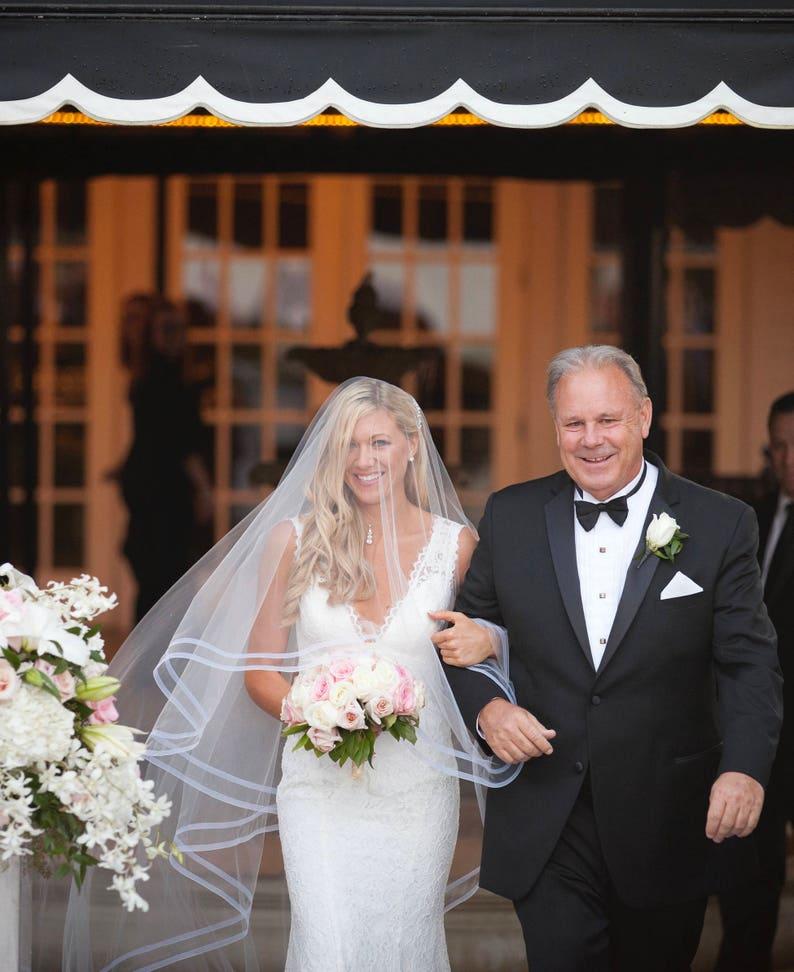 Drop Wedding Veil  Double Trim Horsehair Veil  1/2 inch image 0