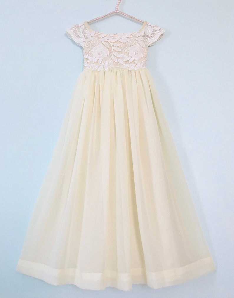 1f4c6a0a876 SALE Ivory Lace Flower Girl Dresses Lace Top Flower Girl