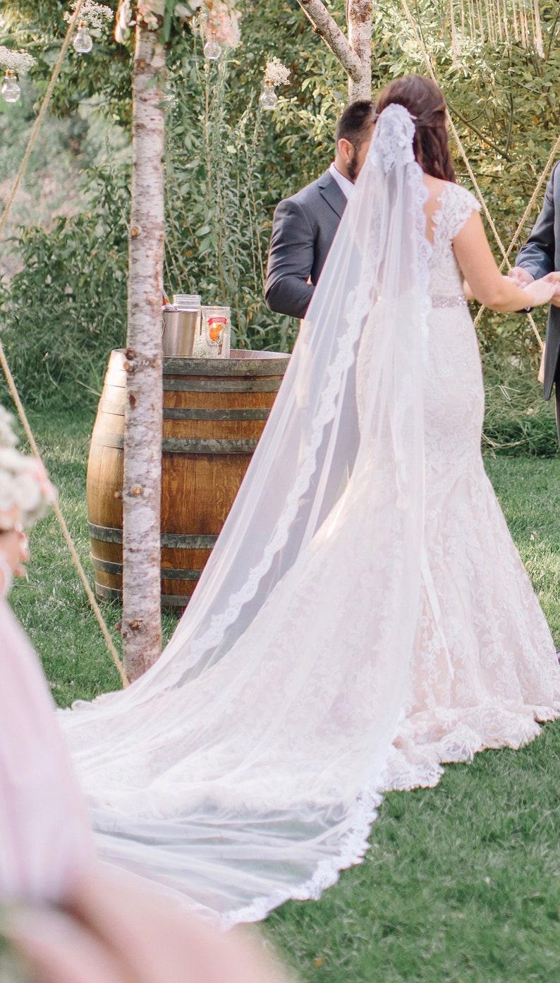 Cup Veil  Cathedral Length Wedding Veils  Mantilla Wedding image 0