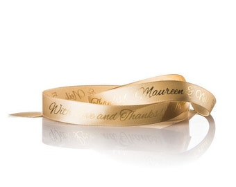 100 Yard Custom Printed Gold Ribbon, Personalized Gold Ribbon With Any Logo or Font Style, Christmas Ribbon, Custom Ribbon Weddings Favors