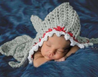 Crochet Shark Newborn Photography Prop/Newborn Shark Cocoon/Baby Shower Gift/Infant Halloween Costume/Newborn Photo Prop/Shark Week  sc 1 st  Etsy & Baby shark costume | Etsy